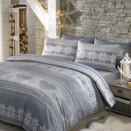 Nordic Duvet Cover Bedding Set Soft Touch Print, Grey White - King