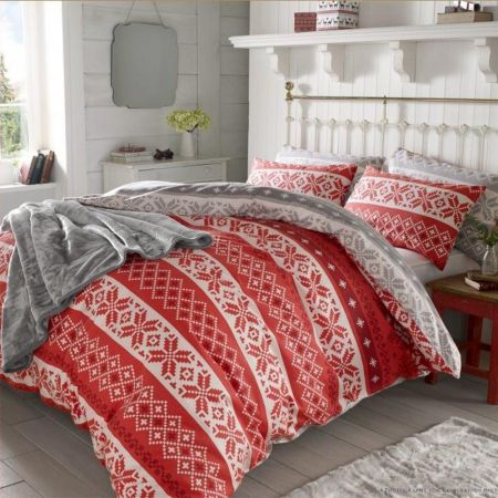 Christmas Nordic Duvet Cover Thermal 100% Brushed Cotton Xmas Bedding Set - Double