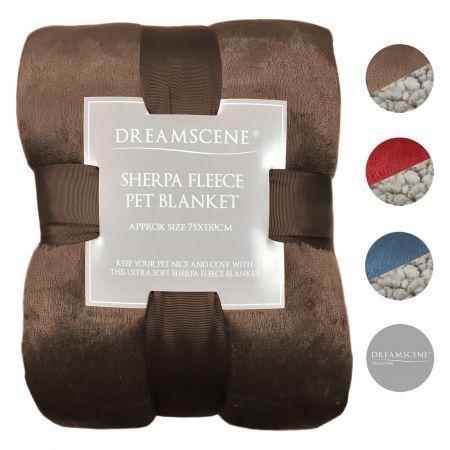 Dreamscene Sherpa Soft Pet Blanket - 75 x 110cm