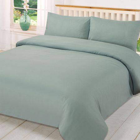 Brentfords Plain Duvet Cover Set - Duck Egg