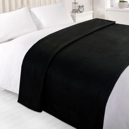 Dreamscene Plain Fleece Throw - Black