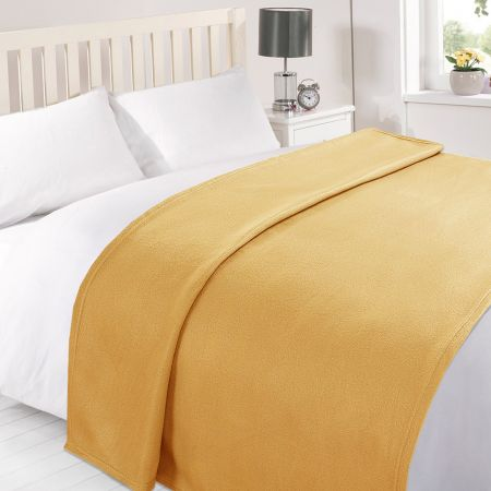 Dreamscene Plain Fleece Throw - Ochre