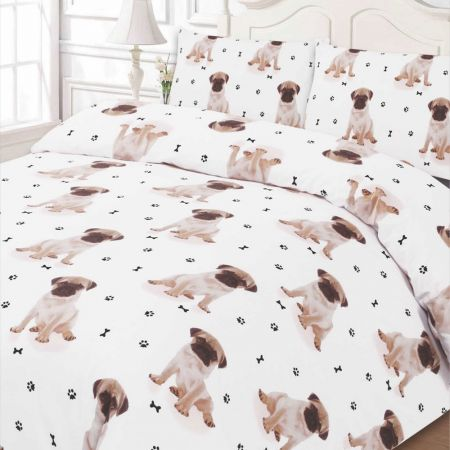 Pug Duvet Cover Set - White