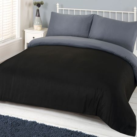 Brentfords Plain Duvet Cover Set - Black/Grey