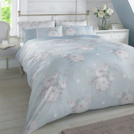 Rosie Floral Duvet Double Set - Blue/Natural