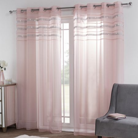 Sienna Latina Diamante Voile Net Curtains Eyelet, Blush Pink - 55