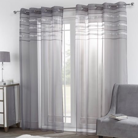 Sienna Latina Diamante Voile Net Curtains Eyelet, Charcoal Grey - 55