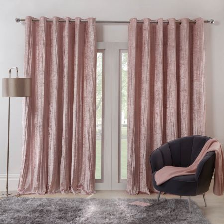 Sienna Home Valencia Crinkle Crushed Velvet Eyelet Curtains - Blush