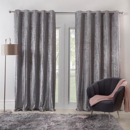 Sienna Home Valencia Crinkle Crushed Velvet Eyelet Curtains - Silver Grey