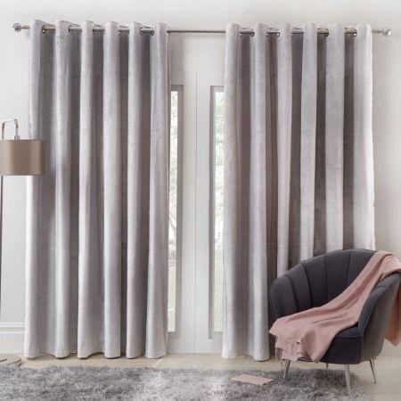 Sienna Home Capri Velvet Eyelet Curtains - Silver
