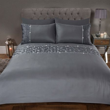 Sienna Satin Pintuck Diamante Band Duvet Cover Set - Silver Grey