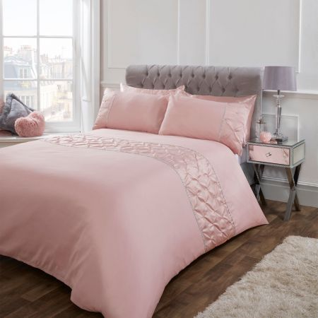 Sienna Satin Pintuck Diamante Band Duvet Cover Set - Blush Pink