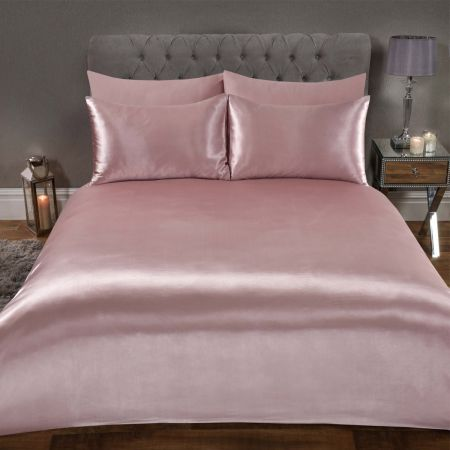 Sienna Plain Satin Duvet Cover Set - Blush Pink