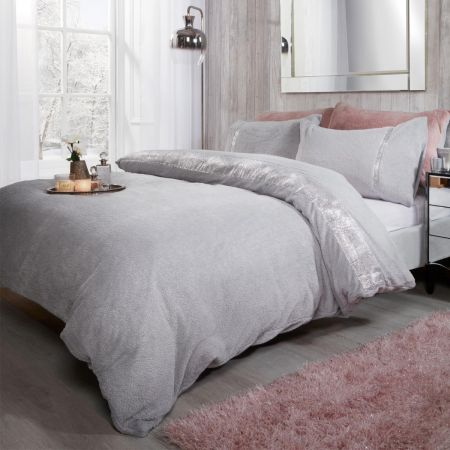 Sienna Teddy Diamante Duvet Cover Set - Silver