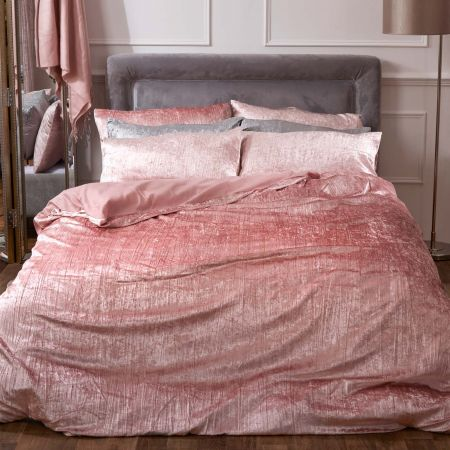 Sienna Valencia Crushed Velvet Duvet Set - Blush