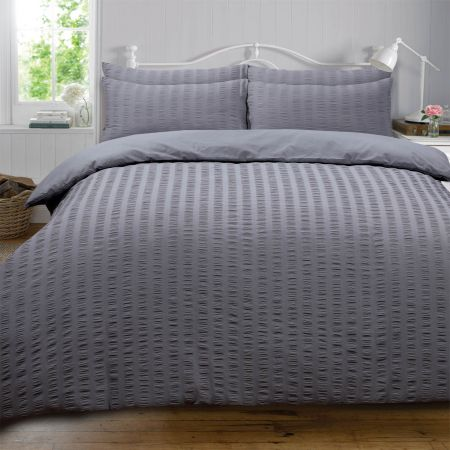 Highams Seersucker Duvet Set - Charcoal