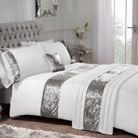 Sequin Sparkle Complete Bed in Bag - White/Silver