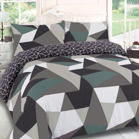 Geometric Green Grey Duvet Set