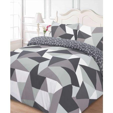 Dreamscene Shapes Geometric Duvet Cover Bedding Set, Black Grey - Double