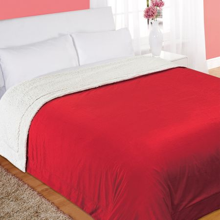 Large Snuggle Soft Sherpa Throw Blanket, King - 200x240cm, Red White