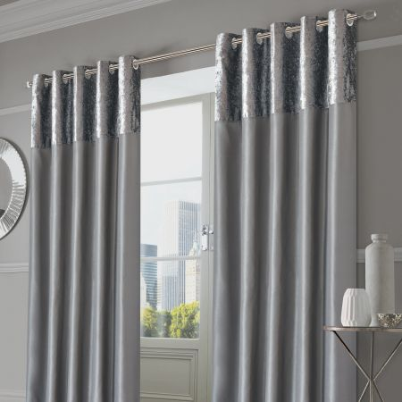 Sienna Home Crushed Velvet Band Eyelet Curtains - Silver Grey