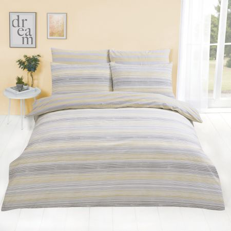Dreamscene Speckle Stripe Duvet Cover with Pillowcase - Yellow