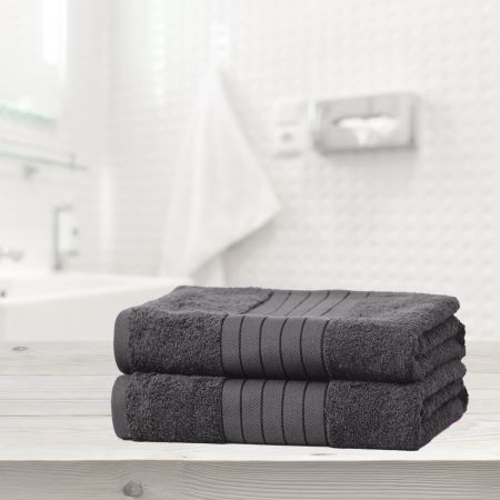 Brentfords 100% Cotton 2 Bath Sheets Towel, Charcoal