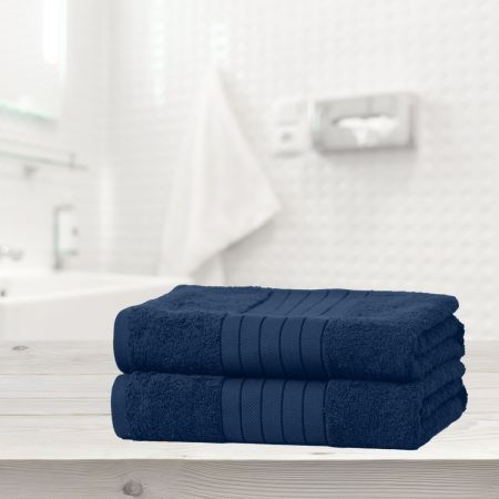 Dreamscene 100% Cotton 2 Bath Sheets Towel, Navy Blue