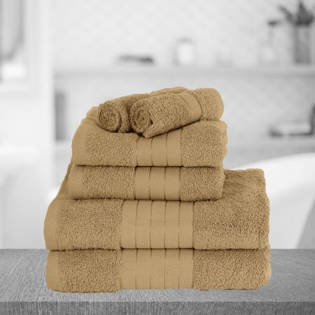 Highams Egyptian Cotton Towel Bale 6 Piece - Latte