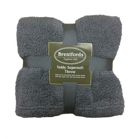 Teddy Fleece Throw - Charcoal Grey