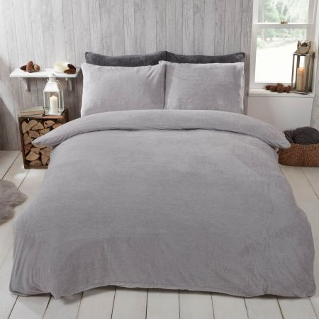 Brentfords Teddy Fleece Duvet Cover Set - Silver Grey