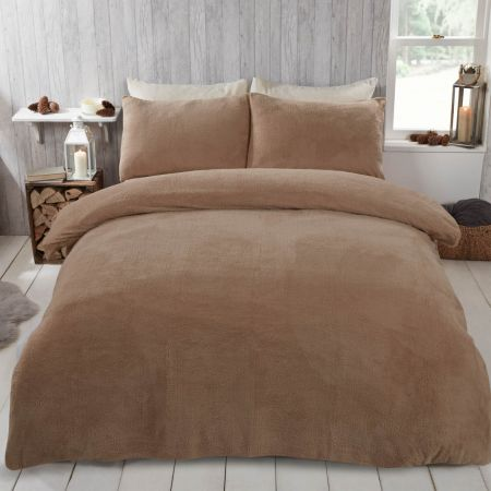 Brentfords Teddy Fleece Duvet Cover Set - Latte