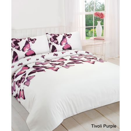 Dreamscene Tivoli Butterfly Duvet Cover Set - Purple/White