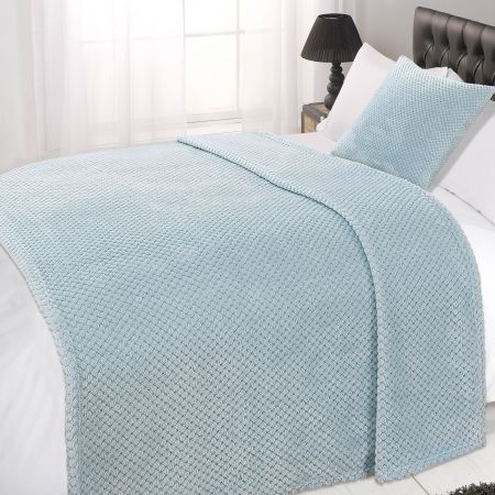 Luxury Waffle King Size Throw -Duck Egg