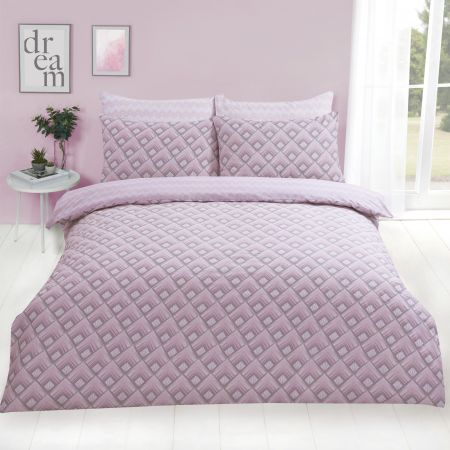Dreamscene Warrior Geometric Duvet Cover Set - Blush Pink