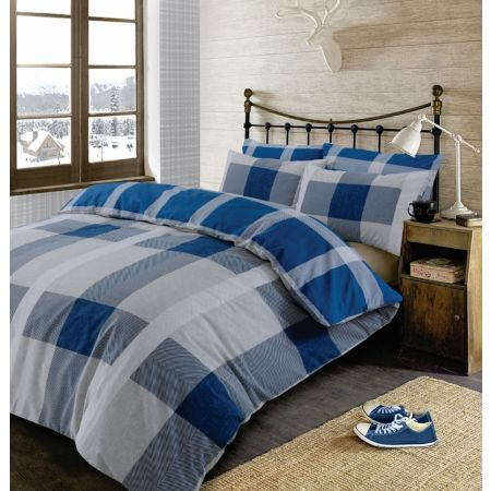 Dreamscene Wide Check Tartan Duvet Cover Set - Blue/Grey