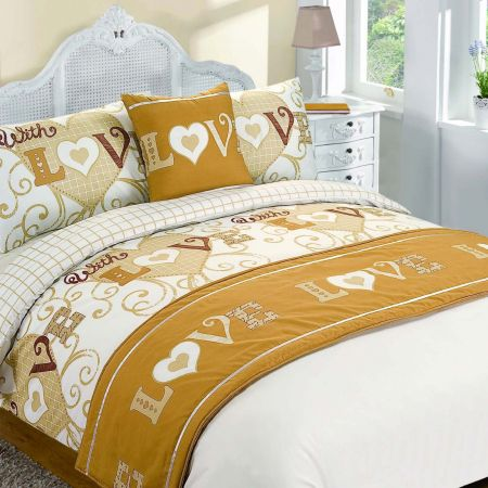 With Love Bed In A Bag Duvet Cover Set - Gold