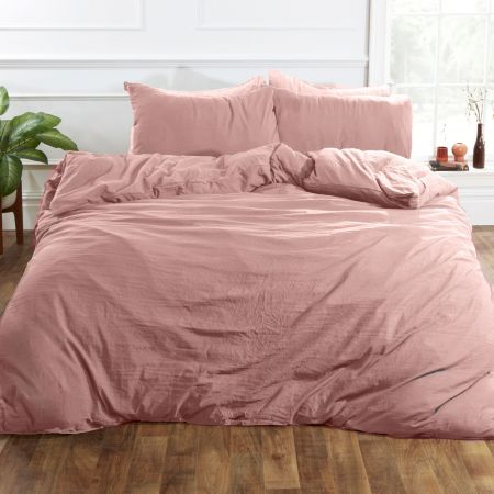 Brentfords Washed Linen Duvet Cover Set - Blush Pink
