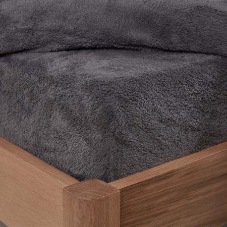 Brentfords Teddy Fleece Fitted Sheet - Charcoal Grey
