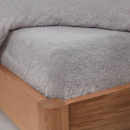 Brentfords Teddy Fleece Fitted Sheet - Silver Grey