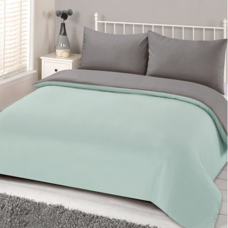 Brentfords Reversible Plain Duvet Set - Neo Mint