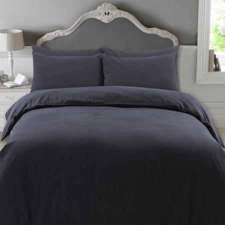 Highams 100% Brushed Cotton Complete Duvet Cover Set - Plain Charcoal Black