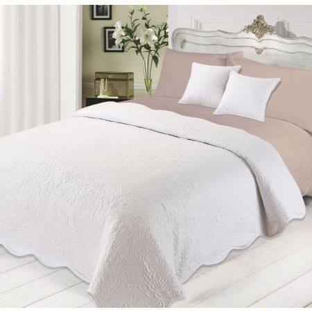 Quilted Embossed Bedspread with Cushions Set -White