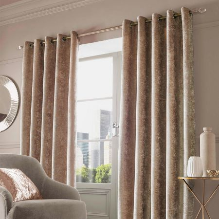 Crushed Velvet Eyelet Curtains - Natural Gold