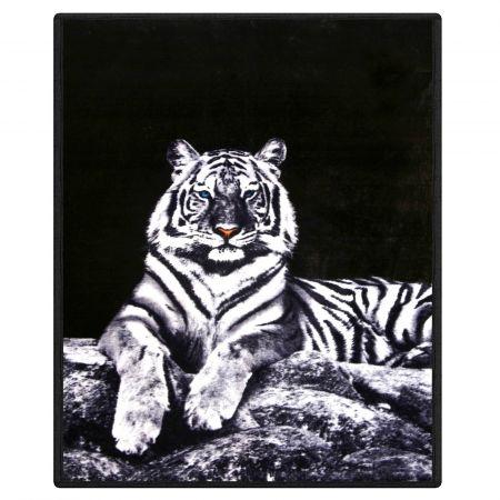 Dreamscene Faux Fur White Tiger Mink Throw - 150 x 200cm