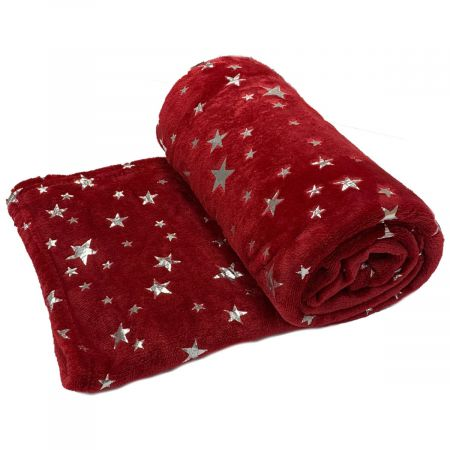 Dreamscene Supersoft Star Throw, Red - 125 x 150cm