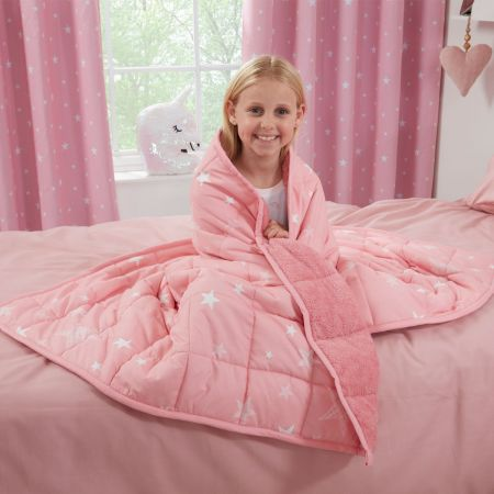Dreamscene Kids Star Teddy Fleece Weighted Blanket, Blush - 3kg