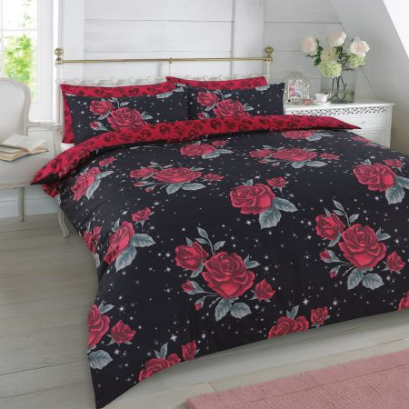 Dreamscene Rose Garden Duvet Set - Black