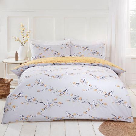 Dreamscene Blossom Bird Duvet Set - Grey