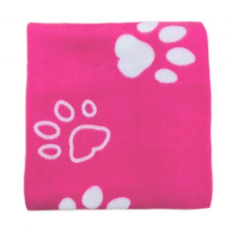 Dreamscene Fleece Pet Blanket Throw, Pink Paw - 120 x 120cm